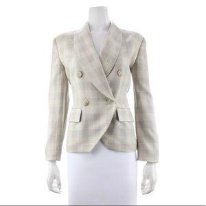 Christian Dior Vintage Plaid Houndstooth Wool Blazer Jacket Beige Ivory Cream 6